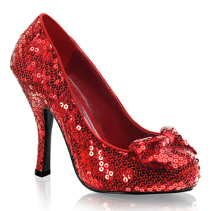 OZ-06 Funtasma Sexy Dorothy 4 1/2 Inch Heel Sequin Bow Detail Shoes Pumps-Women's Shoes-Funtasma-7 uk (40 Europe - 10 Usa)-Red Sequins-Miss Hollywood Sexy Shoes