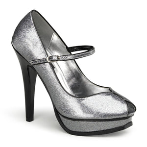 "PLEASURE-02G Sexy 5"" Heel Silver Pearlized Glitter Platforms"