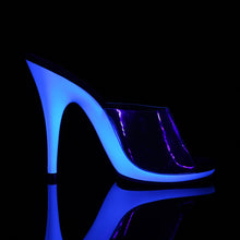 "Load image into Gallery viewer, POISE-501UV Fabulicious 5"" Heel Clear Neon Blue Sexy Shoes"