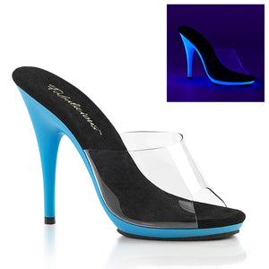 "POISE-501UV Fabulicious 5"" Heel Clear Neon Blue Sexy Shoes"