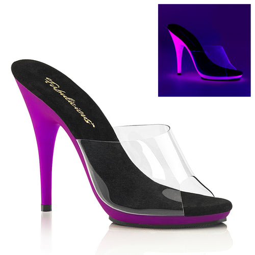 POISE-501UV Fetish 5 Inch Heel Clear & Neon Purple Sexy Shoe