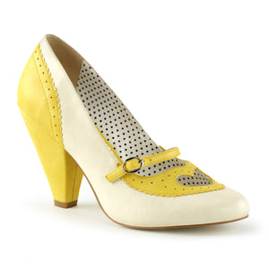 "POPPY-18 Pin Up Couture Glamour 4"" Heel Yellow Fetish Shoes"