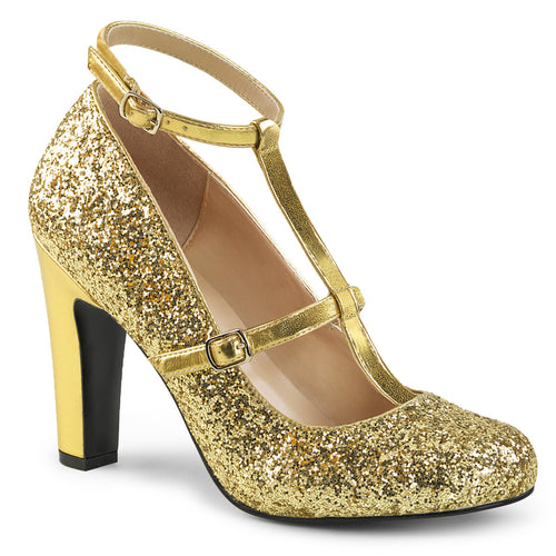 QUEEN-01 Pink Label 4 Inch Heel Gold Glitter Fetish Footwear