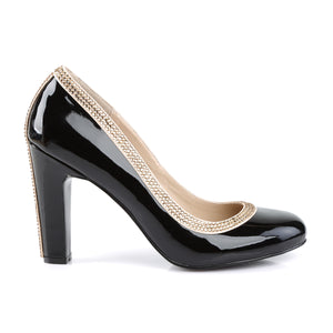 QUEEN-04 Pink Label 4 Inch Heel Black Patent Fetish Footwear
