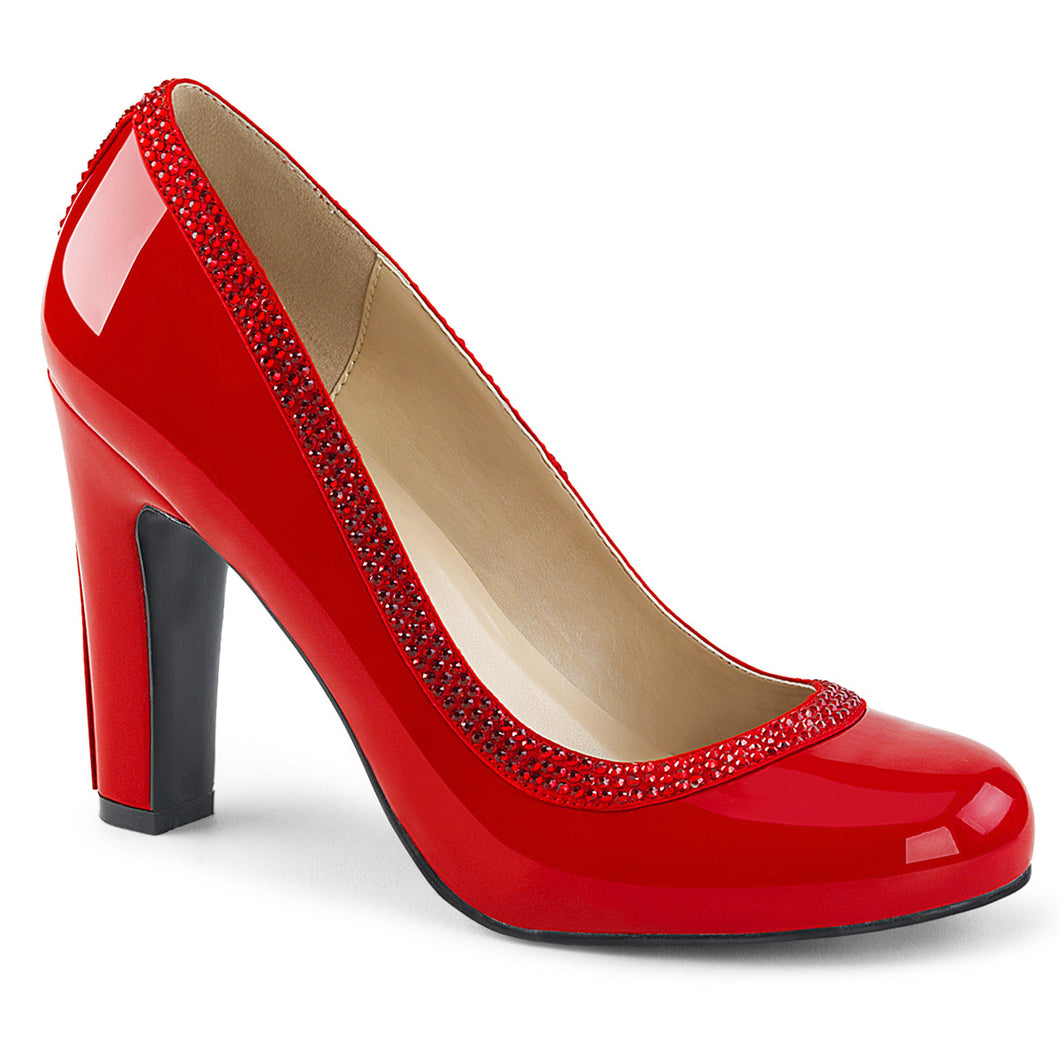 QUEEN-04 Pleaser Pink Label 4 Inch Heel Red Fetish Footwear
