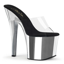 "Load image into Gallery viewer, RADIANT-701 7"" Heel ClearSilver Chrome Pole Dancing Platform-Pleaser- Sexy Shoes"
