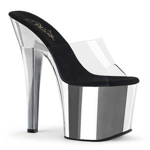 "RADIANT-701 7"" Heel ClearSilver Chrome Pole Dancing Platform-Pleaser- Sexy Shoes"