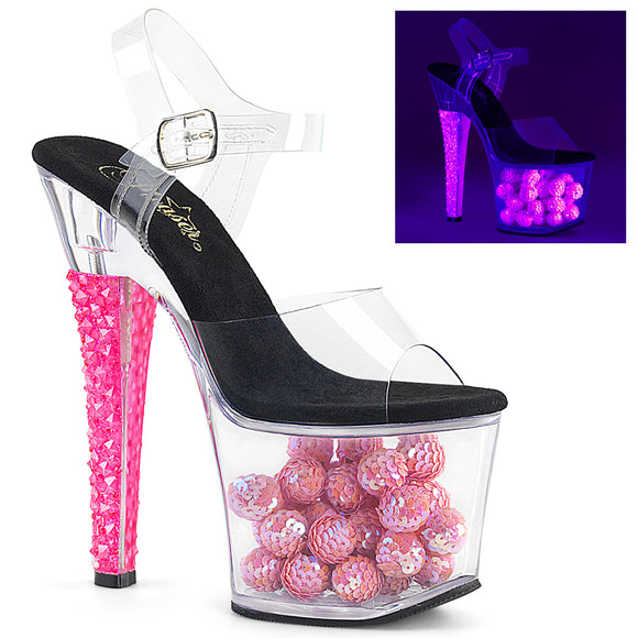 RADIANT-708NSB Pleaser Sexy Shoes 7 Inch Neon UV Heel Ankle Strap Platform Sandals