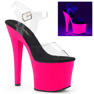 "RADIANT-708UV 7"" Heel Clear and Neon Hot Pink Strippers Shoe"