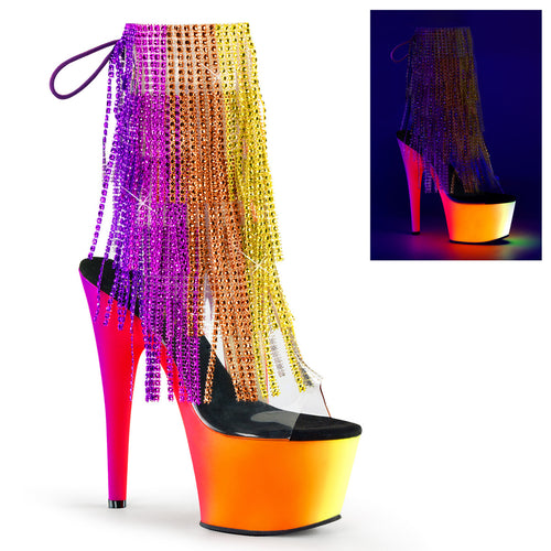 RAINBOW-1017TF-7 Sexy Ankle Boots with Peep Toes & Fringes by Pleaser Shoes