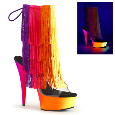 RAINBOW-1017TF-6 Sexy Ankle Boots with Peep Toes & Fringes by Pleaser Shoes - Miss Hollywood
