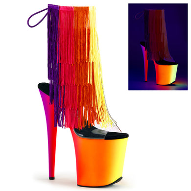 RAINBOW-1017TF-8 Sexy Ankle Boots with Peep Toes & Fringes by Pleaser Shoes - Sexy Shoes