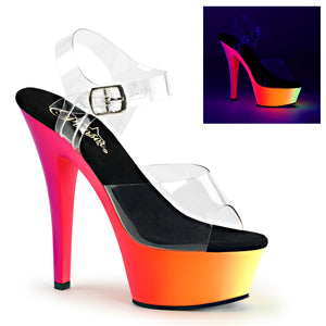 "RAINBOW-208UV 6"" Heel Clear Neon Multi Pole Dancer Platforms"