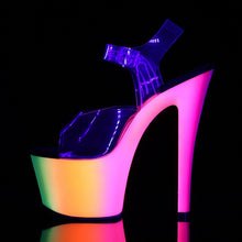 "Load image into Gallery viewer, RAINBOW-308UV 7"" Heel Clear Neon Multi Pole Dancer Platforms"