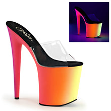 "Load image into Gallery viewer, RAINBOW-801UV 8"" Heel Clear Neon Multi Pole Dancer Platforms"