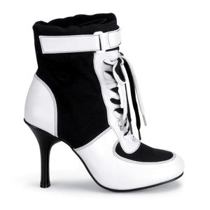 REFEREE-125 Funtasma Sexy Shoes 3 3/4 Inch Heel, Referee Blk Canvas/Wht Pu Sport Boots-Women's Boots-Funtasma-7 uk (40 Europe - 10 Usa)-Black Canvas-White Pu-Miss Hollywood Sexy Shoes