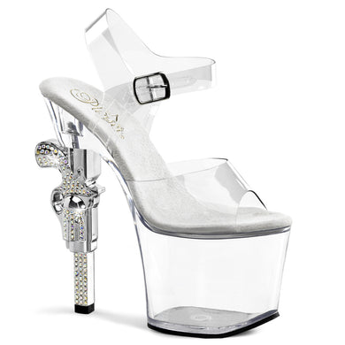 REVOLVER-708 Pleaser Sexy 7 Inch R/S Embellished Gun Heel Ankle Strap Sandals - Miss Hollywood