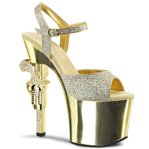 REVOLVER-709G Pleaser Sexy 7 Inch R/S Embellished Gun Heel Ankle Strap Sandals - Miss Hollywood Pleaser Shoe Supplier