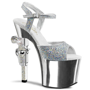 REVOLVER-709G Pleaser Sexy 7 Inch R/S Embellished Gun Heel Ankle Strap Sandals - Pleaser Shoes UK Supplier