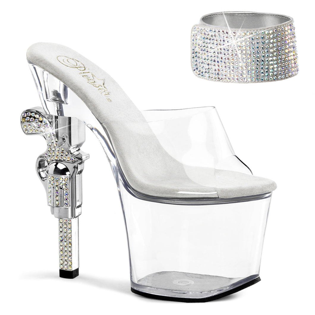 REVOLVER-712 Pleaser Sexy Shoes 7 Inch R/S Embellished Gun Heel, 3 1/4 Inch Platforms Sandals - Miss Hollywood
