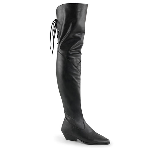 RODEO-8822 Pleaser Cavalear Boots No Platforms Fetish Thigh High Boots-Pleaser-Miss Hollywood Sexy Shoes
