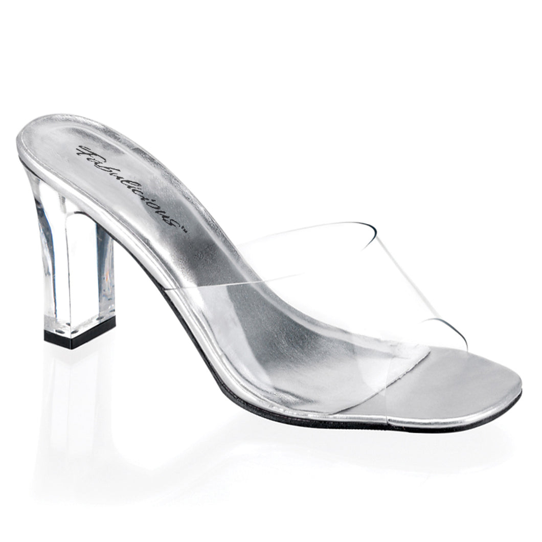 ROMANCE-301 Transparent Sexy Shoes with 3 Inch Square Heel Slide Slip on Shoes-Shoes-Fabulicious-Footwear Fetish-Clear Lucite-Miss Hollywood Sexy Shoes