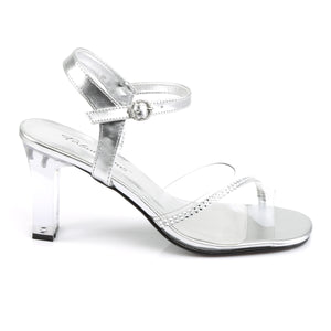 ROMANCE-308R Fabulicious Sexy Shoes 3 1/4 Inch Square Heel Transparent Ankle Strap Sandals-Shoes-Fabulicious-Footwear Fetish-Clear-Silver Metallic Pu-Miss Hollywood Sexy Shoes Pole Dancer Shoe Shop
