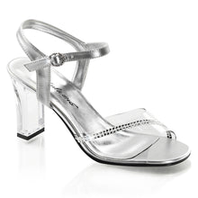 Load image into Gallery viewer, ROMANCE-308R Fabulicious Sexy Shoes 3 1/4 Inch Square Heel Transparent Ankle Strap Sandals-Shoes-Fabulicious-Footwear Fetish-Clear-Silver Metallic Pu-Miss Hollywood Sexy Shoes