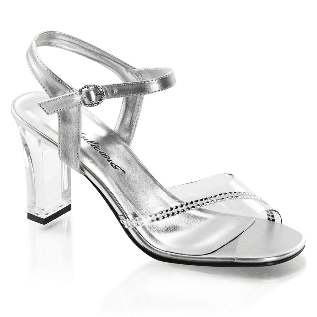 ROMANCE-308R Fabulicious Sexy Shoes 3 1/4 Inch Square Heel Transparent Ankle Strap Sandals-Shoes-Fabulicious-Footwear Fetish-Clear-Silver Metallic Pu-Miss Hollywood Sexy Shoes