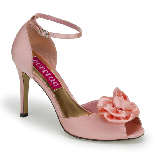 ROSA-02 Bordello Sexy Shoes 3 3/4 Inch Peep Toe Ankle Strap Sandals with Rose Ornament-Shoes-Bordello-3 uk (36 Europe - 6 Usa)-Baby Pink Satin-Miss Hollywood Sexy Shoes