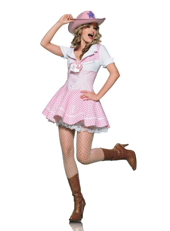 LA83155 Sexy Country Cowgirl Fancy Dress Costume - Miss Hollywood