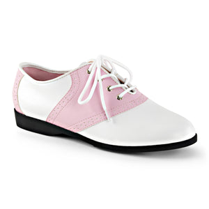 SADDLE-50 Funtasma Sexy Shoes Flat Saddle Shoes, Retro, Greese Costumes, Lace up-Women's Shoes-Funtasma-3 uk (36 Europe - 6 Usa)-B.Pink-White Patent-Miss Hollywood Sexy Shoes