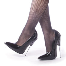 "Load image into Gallery viewer, SCREAM-01 Devious Fetish 6"" Heel Black Patent Erotic Shoes"