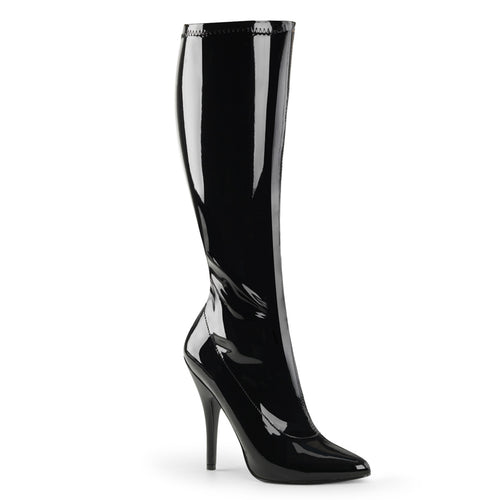 SEDUCE-2000 5 Inch Heel Black Stretch Patent Fetish Footwear