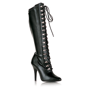 SEDUCE-2024 Pleaser Sexy Shoes 5 Inch D-Ring Stretch Knee High Length Boots, Side Zip - Miss Hollywood