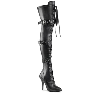 Sexy SEDUCE-3028 Pleaser Sexy Shoes 5 Inch Ribbon Stretch Thigh High Length Boots with Grommet  Pleaser - Miss Hollywood - Sexy Shoes