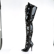 "Load image into Gallery viewer, SEDUCE-4026 Chap Boots 5"" Heel Black Patent Fetish Footwear-Pleaser- Sexy Shoes Pole Dance Heels"