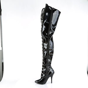 "SEDUCE-4026 Chap Boots 5"" Heel Black Patent Fetish Footwear-Pleaser- Sexy Shoes Pole Dance Heels"