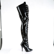 "Load image into Gallery viewer, SEDUCE-4026 Chap Boots 5"" Heel Black Patent Fetish Footwear-Pleaser- Sexy Shoes Fetish Heels"