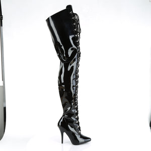 "SEDUCE-4026 Chap Boots 5"" Heel Black Patent Fetish Footwear-Pleaser- Sexy Shoes Fetish Heels"