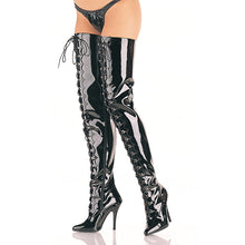 "Load image into Gallery viewer, SEDUCE-4026 Chap Boots 5"" Heel Black Patent Fetish Footwear-Pleaser- Sexy Shoes"