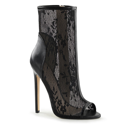 SEXY-1008 Fabulicious Sexy Ankle Boots 5 Inch Heel Open Toe Ankle Bootsie, Side Zip-Boots-Fabulicious-Footwear Fetish-Black Pu-Lace-Miss Hollywood Sexy Shoes