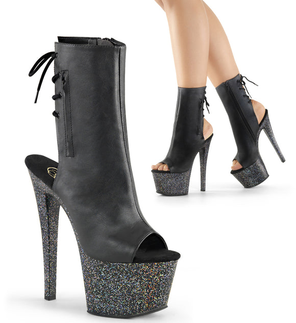 SKY-1018MG Sexy Ankle Boots with Peep Toes Glitter Heels by Pleaser Shoes - Miss Hollywood