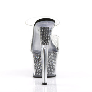 "SKY-302SRS 7"" Heel Clear and Black with Bling Strippers Shoe"