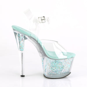 SKY-308CF Pleaser Clear/Clear-Aqua Iridescent Glitter Platforms (Exotic Dancing)