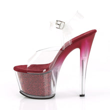 "Load image into Gallery viewer, SKY-308G-T 7"" Heel Clear Berry Glitter Inserts Sexy Shoes"