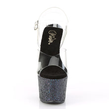 "Load image into Gallery viewer, SKY-308LG Pleaser 7"" Heel Clear Black Glitter Stripper Shoes"