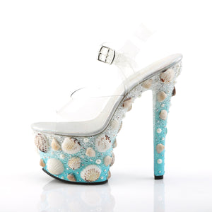 "SKY-308MERMD 7"" Heel Clear Light Blue Glitters Sexy Shoes"