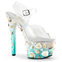 "Load image into Gallery viewer, SKY-308MERMD 7"" Heel Clear Light Blue Glitters Sexy Shoes"