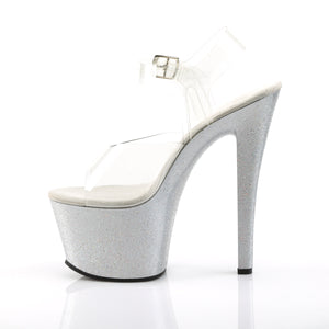 "SKY-308MG 7"" Heel Clear and Silver Pole Dancing Platforms-Pleaser- Sexy Shoes Pole Dance Heels"